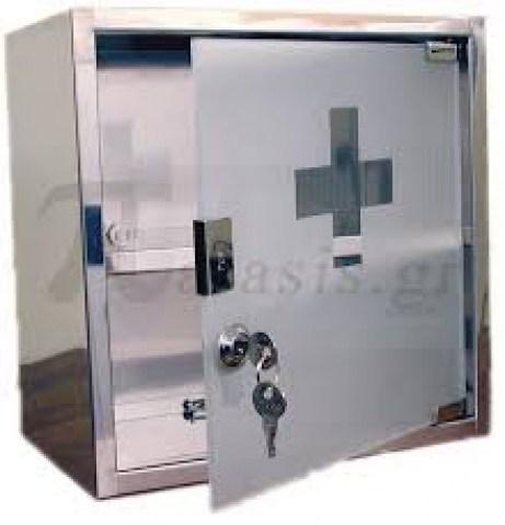 Φαρμακείο ΙΝΟΧ με γυάλινη πόρτα & 2 ράφια