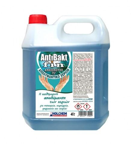 Αλκοολούχο απολυμαντικό ΑΝΤΙΒΑΚΤ FIN 75ο / Ιοκτόνο Χεριών 4L